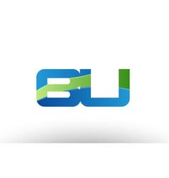 Blue green bu b u alphabet letter logo vector