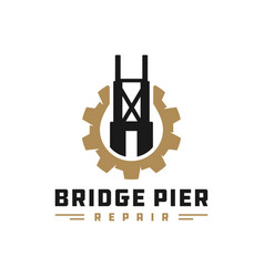 bridge pier construction logo vector image