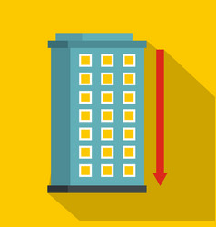 building and red down arrow icon flat style vector image