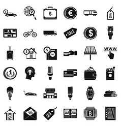 business economy icons set simple style vector image