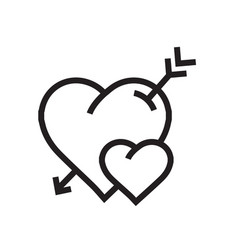 Cartoon heart arrow icon vector