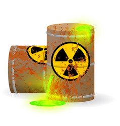 Chemical radioactive waste in a rusty barrel vector