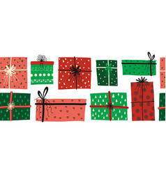 Christmas gift boxes seamless border vector
