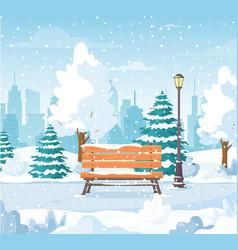 Christmas snowy winter city park vector