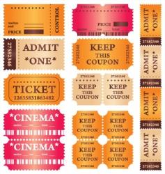 cinema tickets vector image vector image