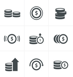 Coins Icons Set Design vector image