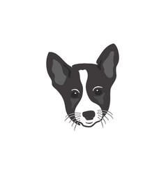 dog head icon silhouette retro style monochrome vector image