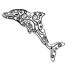 Dolphin decorative ornament animal sketch vector