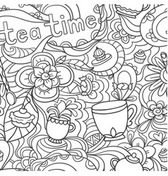 Doodle seamless pattern about coffee tea time vector