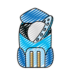 doodle ufo object technology inside backpack vector image