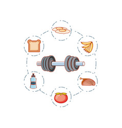 dumbbell sport fitness with set icons vector image