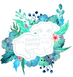 Easter watercolor natural with lamb sticker vector