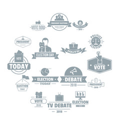 election voting logo icons set simple style vector image