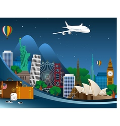 Famous monuments world vector