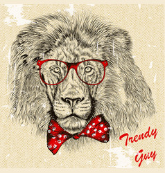 Fashion background with stylish lion guy with bow vector