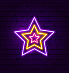 festive star neon label vector image