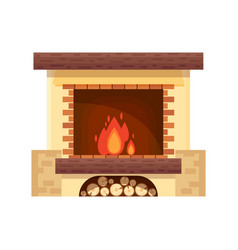 fireplace icon logo design in flat style vector image