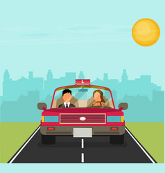 Flat design concept of driving school with car vector