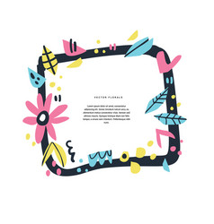 Floral greeting card hand drawn colorful layout vector