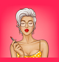 Girl with sexy lips holds red lipstick vector