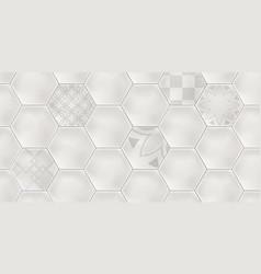 Grey hexagon ceramic tiles vector