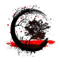 grunge magic tree background vector image