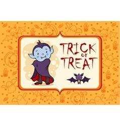 halloween card with cartoon vampire and bat vector image