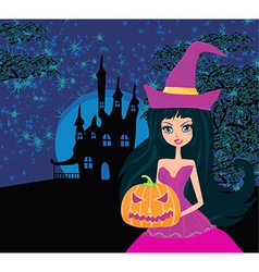 Halloween witch standing with pumpkin vector image