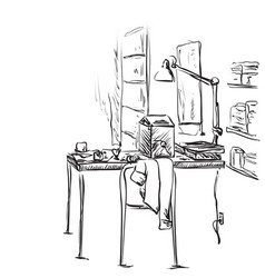Hand drawn workplace interior with bookshelves vector