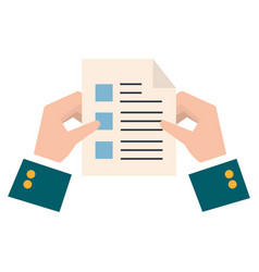 hands with paper document isolated icon vector image