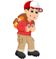 handsome backpacker cartoon in action vector image