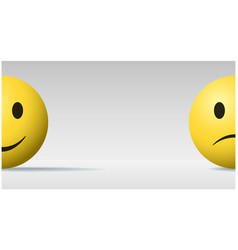 Happy and sad face ball emoji background vector
