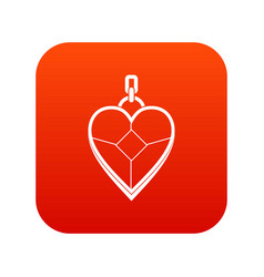 Heart shaped pendant icon digital red vector