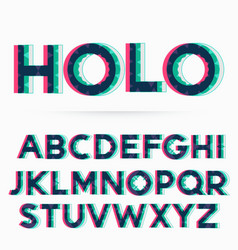 Holographic alphabet font vector