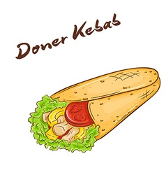 isolated cartoon hand drawn fast food Donner kebab vector image