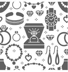 Jewelry seamless pattern glyph vector