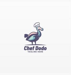 logo chef dodo simple mascot style vector image