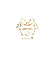 logo gift box hand drawn with thin lines vector image