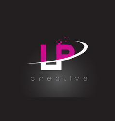 Lp l p creative letters design with white pink vector