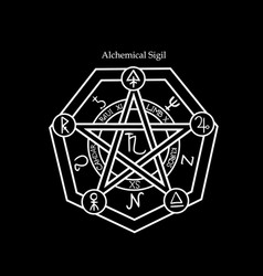 Magical alchemical seal with symbols vector