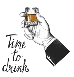 Male hand holding a glass of whiskey vector image