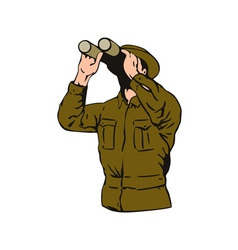 Man Looking Binoculars vector image