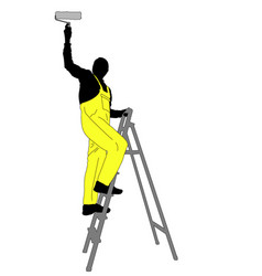 man painting a ceiling silhouette vector image