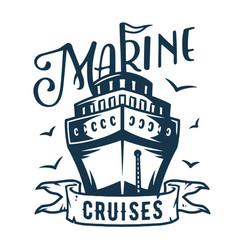 Marine cruiser and seagull logo nautical sea art vector