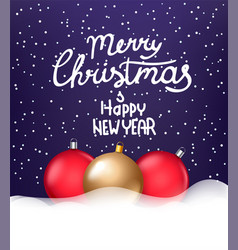 merry hristmas and happy new year baubles with a vector image