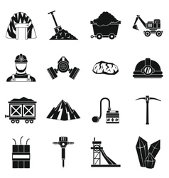 Miner icons set simple style vector image