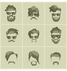 mustache beard and hairstyle hipster vector image