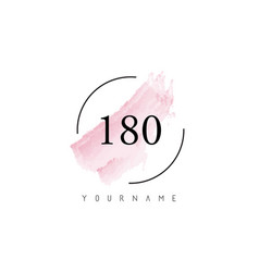 Number 180 watercolor stroke logo design vector