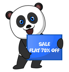panda with sale sign on white background vector image