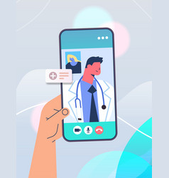 patient discussing with doctor on smartphone vector image
